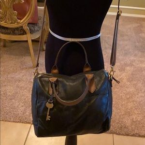 Fossil Black and Tan purse